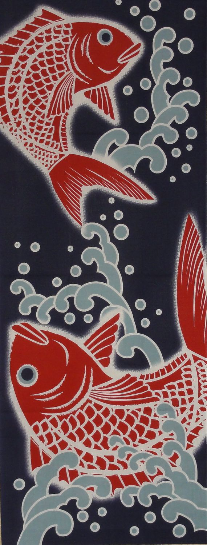 two sea bream motif tenugui japanese cotton by kyotocollection 日本の織物 アジアのアート 和柄 壁紙