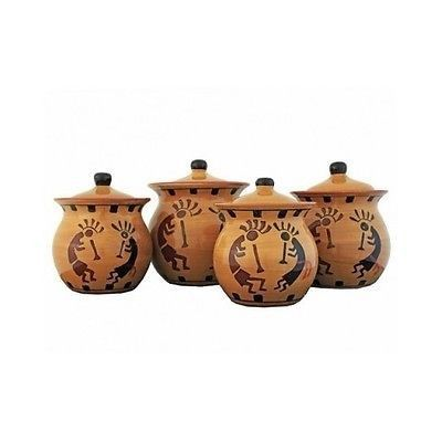 Canister Set Hand Painted Southwest Decor 4 Piece Sealed Ceramic Kitchen Counter