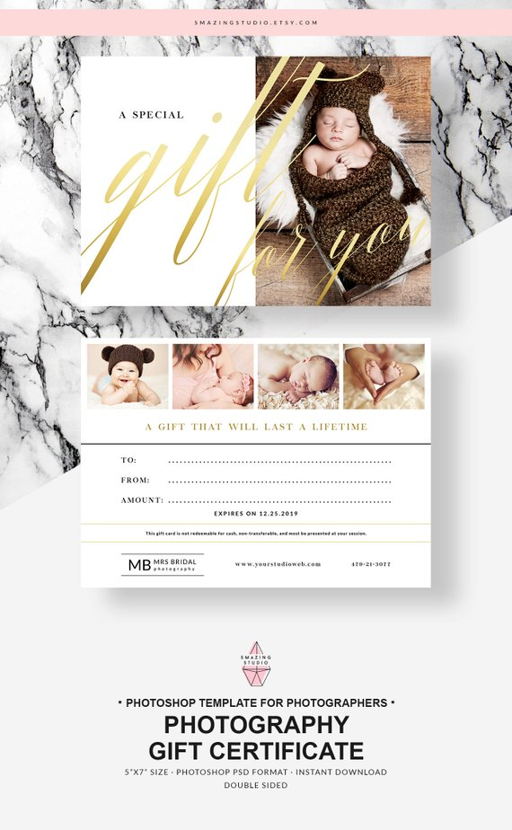 Photography Gift Certificate Photographer Gift Card Template Gift