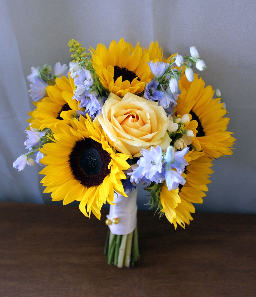 Bridal Bouquet of sunflowers, roses and delphinium