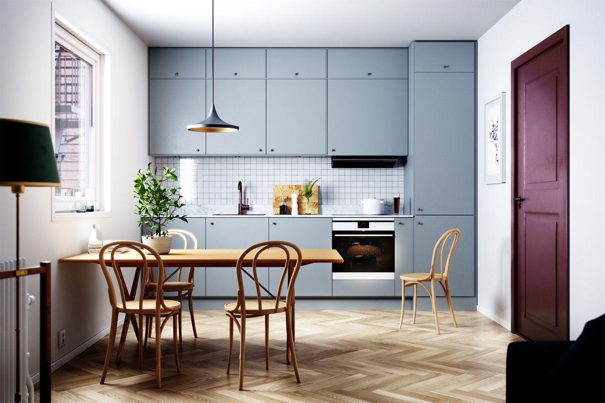 30 Beautiful Blue Kitchens To Brighten Your Day One Wall Kitchen Kitchen Design Small Interior Design Kitchen
