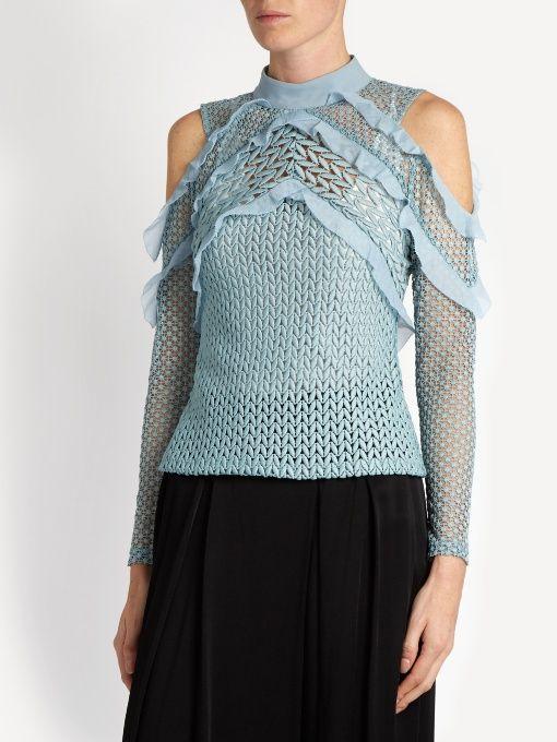 e45a5e200be03e Self-portrait Purl knit lace cut-out shoulder top | sweaters ...