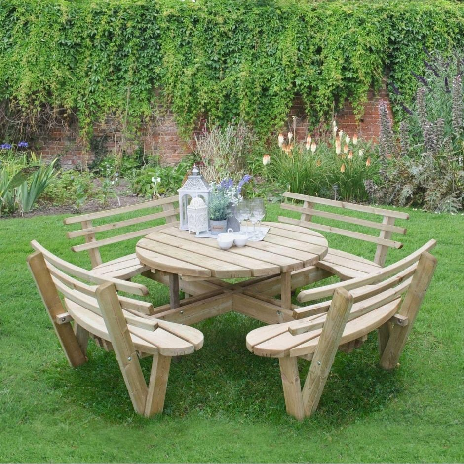 Forest Circular Picnic Table With Seat Backs Rustic Garden Furniture Wooden Garden Furniture Wooden Picnic Tables