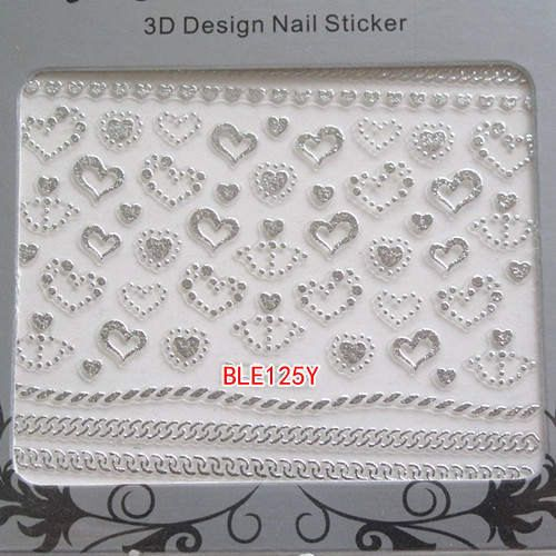 Valentines Nail Art Sticker Decals Transfers SILVER Bling Bows Hearts Lace #nails #nailart #nailartstickers