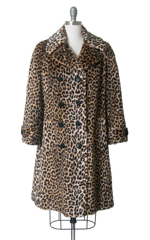 7568d0404c54 Vintage 1960s Coat | 60s Leopard Print Faux Fur Double Breasted Jacket  Animal Print Long Winter
