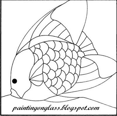 Stained Glass Angelfish Pattern ~ painting on glass