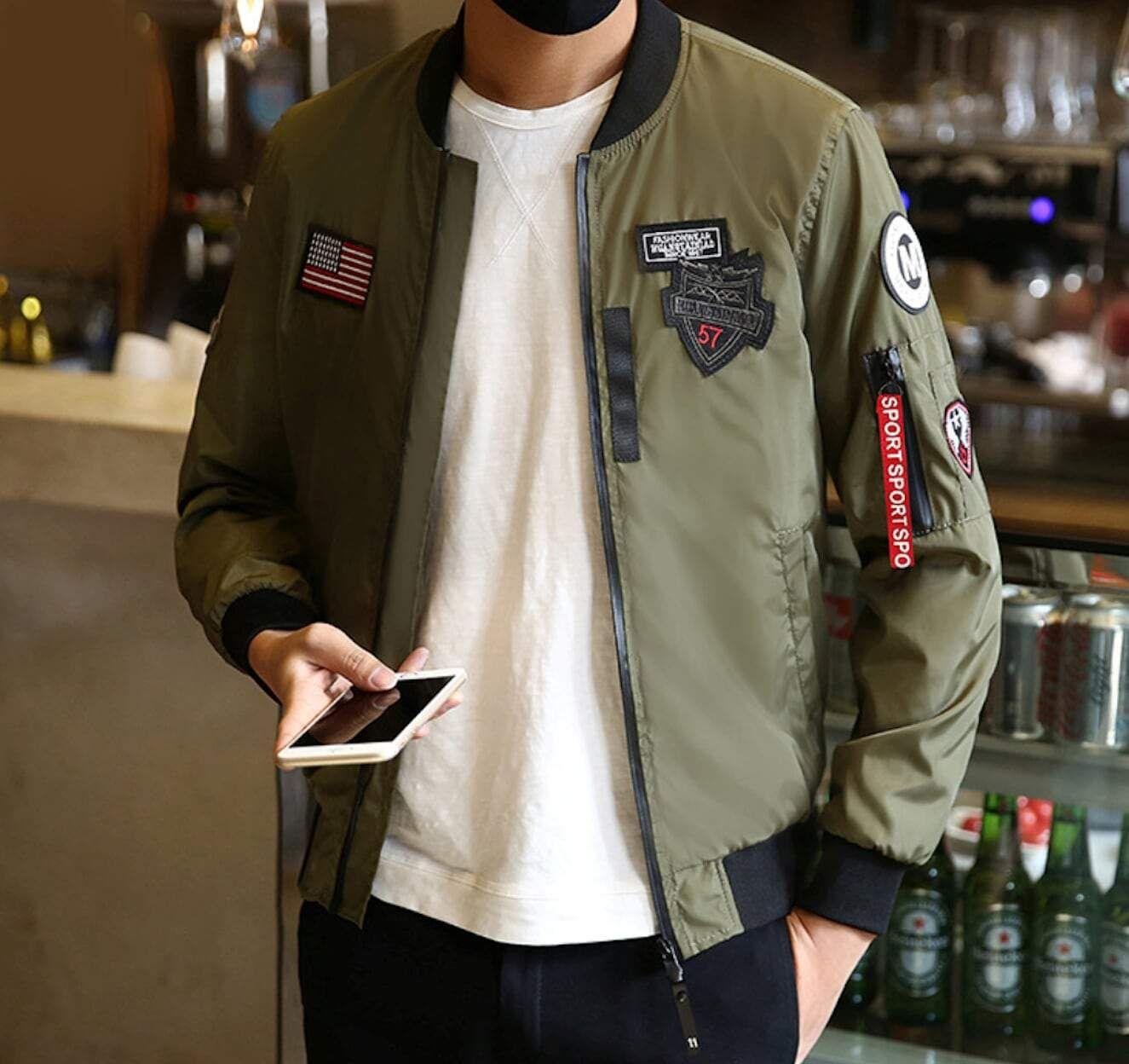 Mens Zip Up Bomber Jacket In 2021 Bomber Jacket Bomber Jacket Men Jackets Men Fashion [ 1248 x 1325 Pixel ]