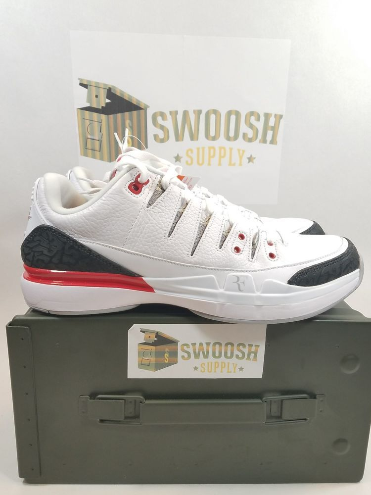 959dcf4136f4c1 Nike Zoom Vapor RF X AJ3 Size 9 Jordan Federer White Fire Red Black 709998- 106  Nike  AthleticSneakers