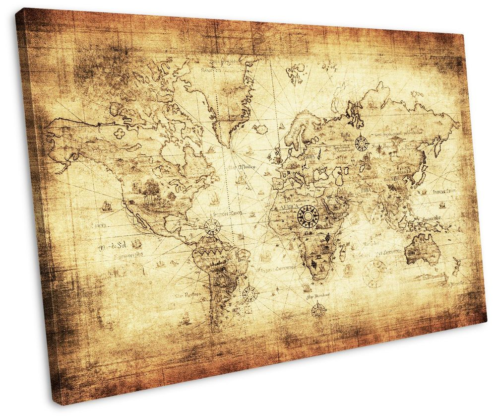 Ancient World Map Art Canvas Vintage Wooden Frame Wall Hanging Bed ...