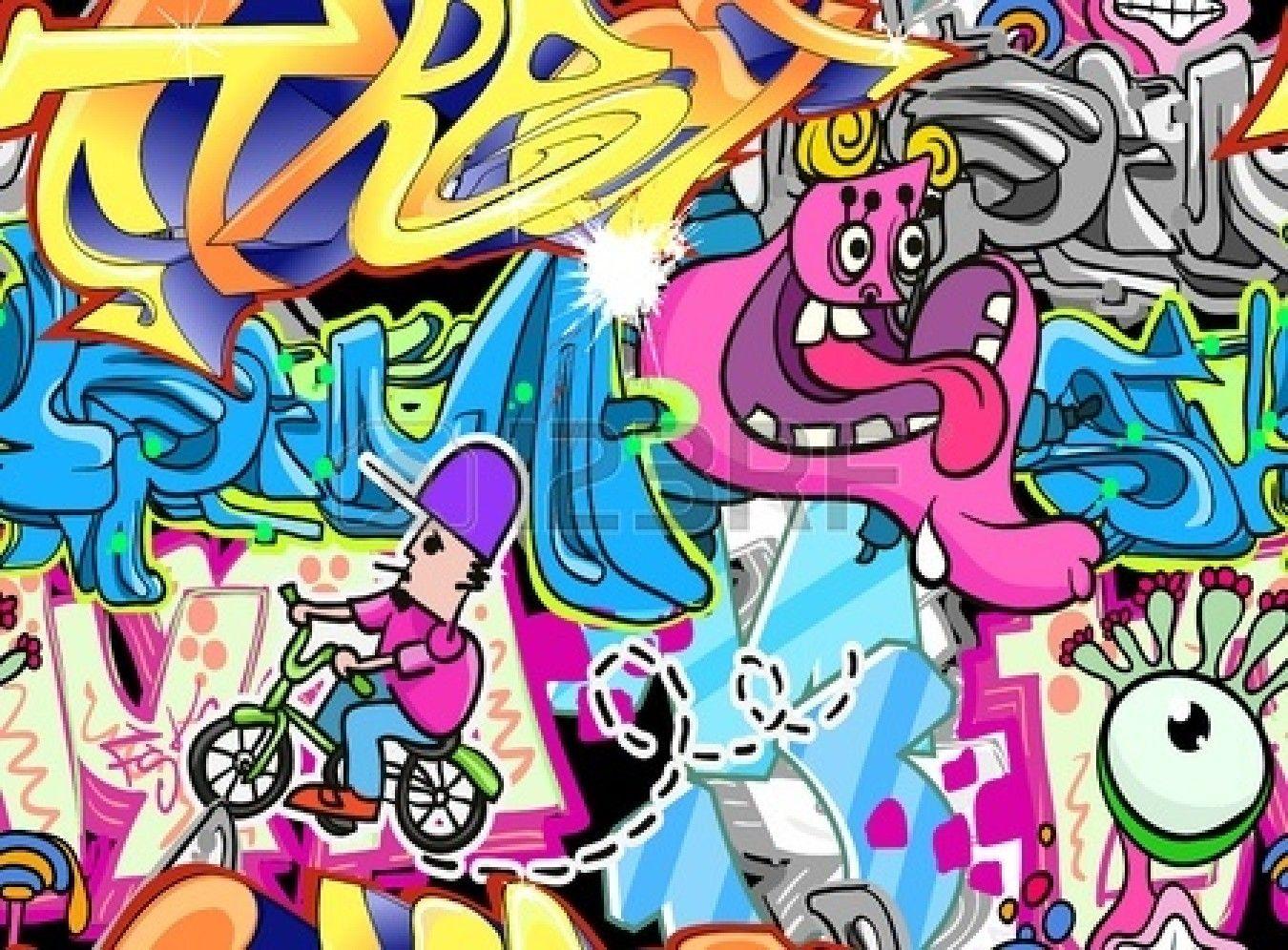 Graffiti wall urban art seamless background
