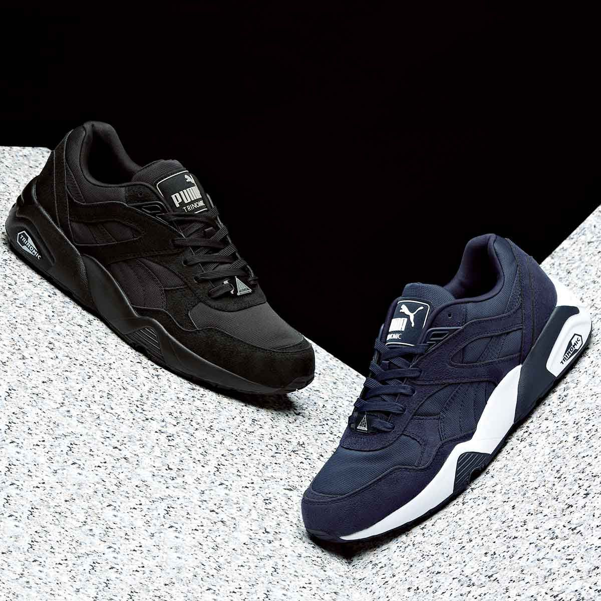 new arrival d61fb 999de The popular Puma Trinomic R698 Trainer in two brand new colour-ways. Black    Drizzle and Peacoat   White.