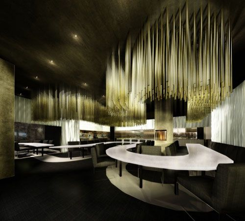 Futuristic restaurant interior design lightning make