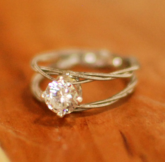 Guitar String Engagement Ring Double Band Purity Ring Engagement