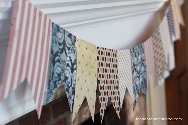 4th of July Mantel Pennant banners, Pennant template and Mantels