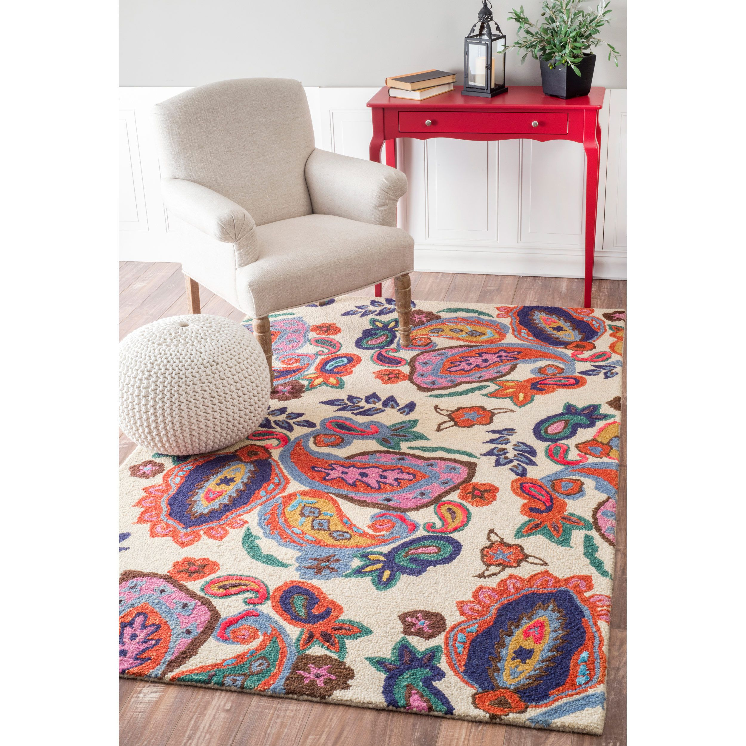 Nuloom Contemporary Handmade Wool Viscose Vibrant Paisley Beige Rug 7 6 X 9 6