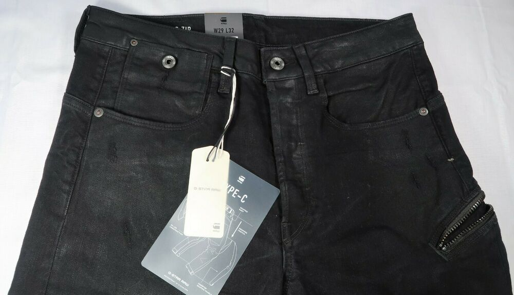 G Star Raw Mens Jeans Type C Zip 3D Tapered Size 29x32 Black
