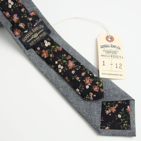 Black Chambray & Floral Necktie by General Knot & Co.