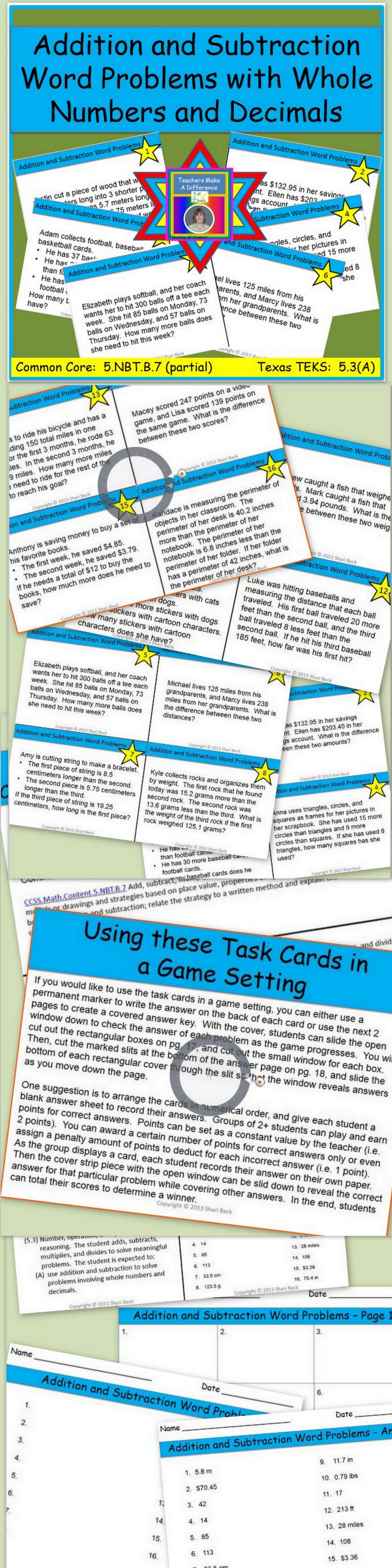 Addition And Subtraction Task Cards Addition And Subtraction Word Problems Task Cards Math Third Addition and subtraction reasoning