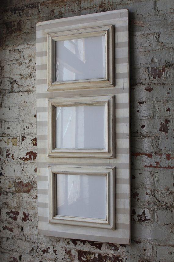 3 Opening 8x10 Distressed Stripe Frame In By Deltagirlframes Diy Picture Frames Frame Delta Girl