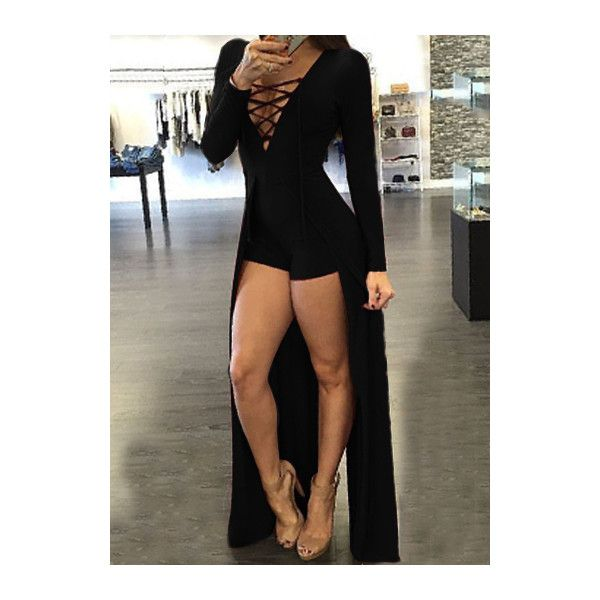 Rotita Black Lace Up Design Maxi Overlay Romper 22 Liked On