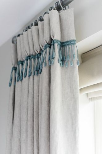 Blue Linen Trimming At The Base Of A Hand Pleated Heading Adds A Bespoke  Touch To These Plain Linen Curtains By Lauren Gilberthorpe Interiors