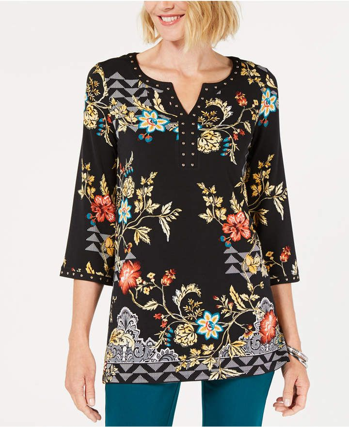 ef80d2a263f JM Collection Printed Embellished Tunic