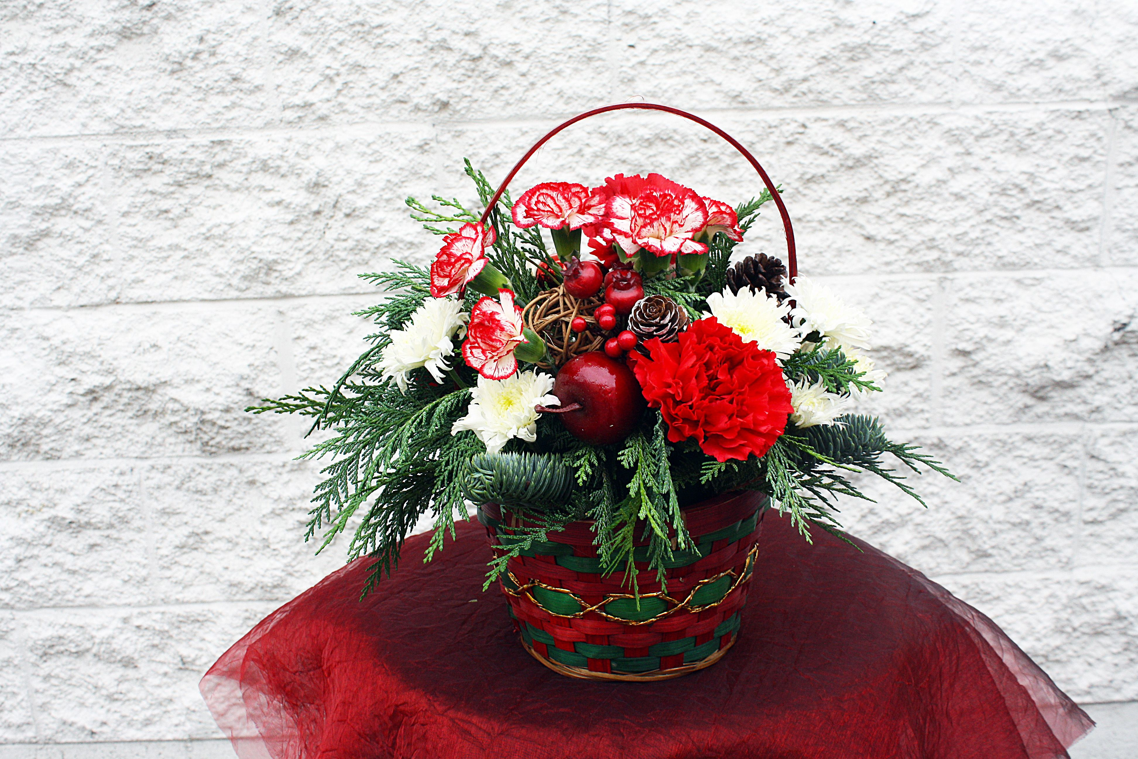 A Christmas Basket Arrangement Four Seasons Flowers