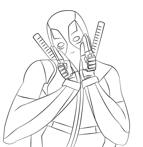 Lovely Deadpool Coloring page | Ilustrasiones | Pinterest