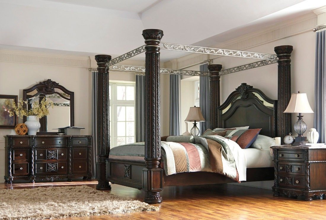 Ashley Furniture Laddenfield Canopy Bedroom Set Canopy Bedroom Sets Bedroom Set King Bedroom Sets