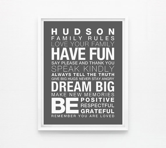 Personalized Family Rules Print. Family Art Playroom by loopzart ...