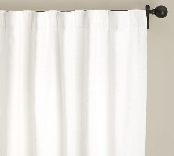 Emery Linen Cotton Pole Pocket Curtain Blue Dawn Black