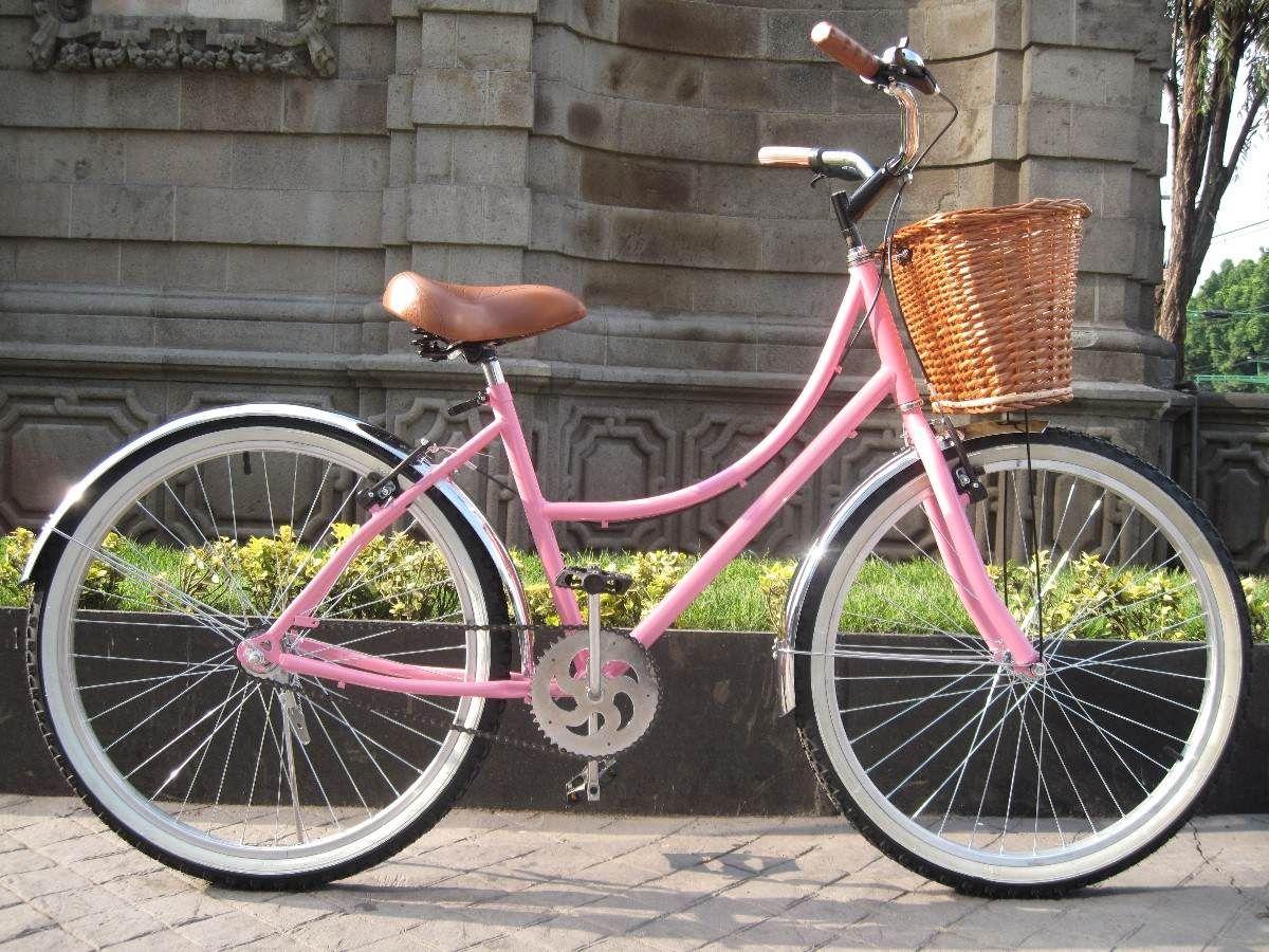 Bicicleta Retro Vintage R26 Rosa Canastilla Mimbre 2 940 00 Bicicletas Retro Bicicleta Retro Vintage Bicicletas De Paseo