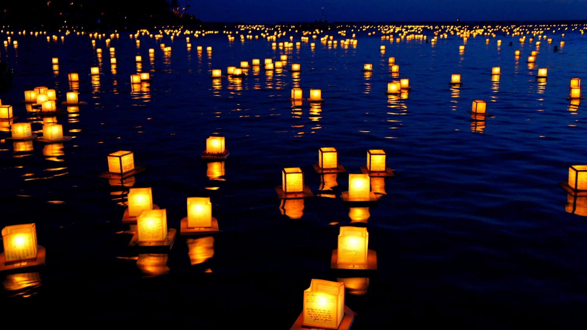 Lanterns Water Ocean Peaceful Nature Reflection Lake Blue View ... for Flying Lantern Wallpaper  75tgx
