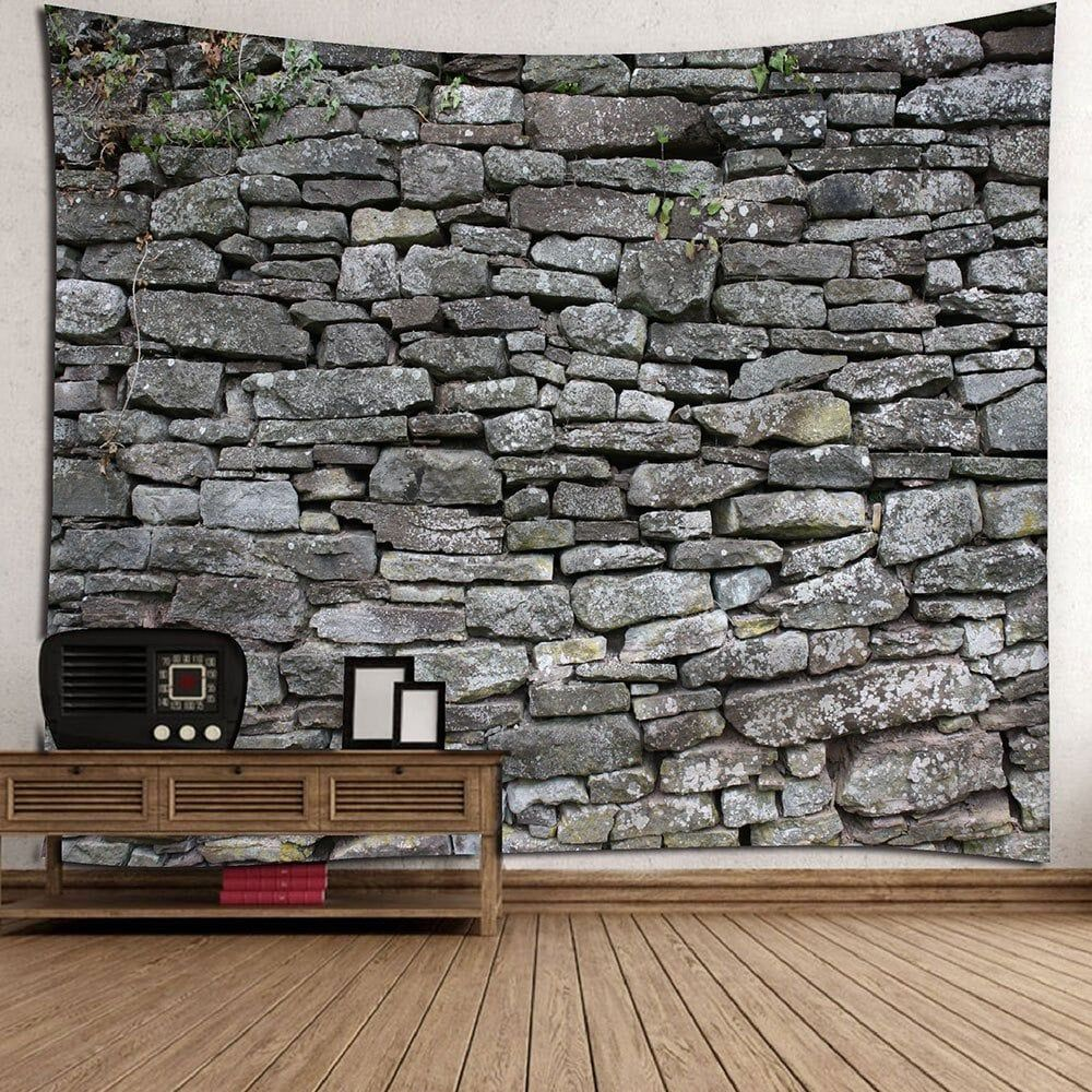 eef8c420eb6 Stone Print Waterproof Wall Decor Tapestry - GRAY W91 INCH   L71 INCH
