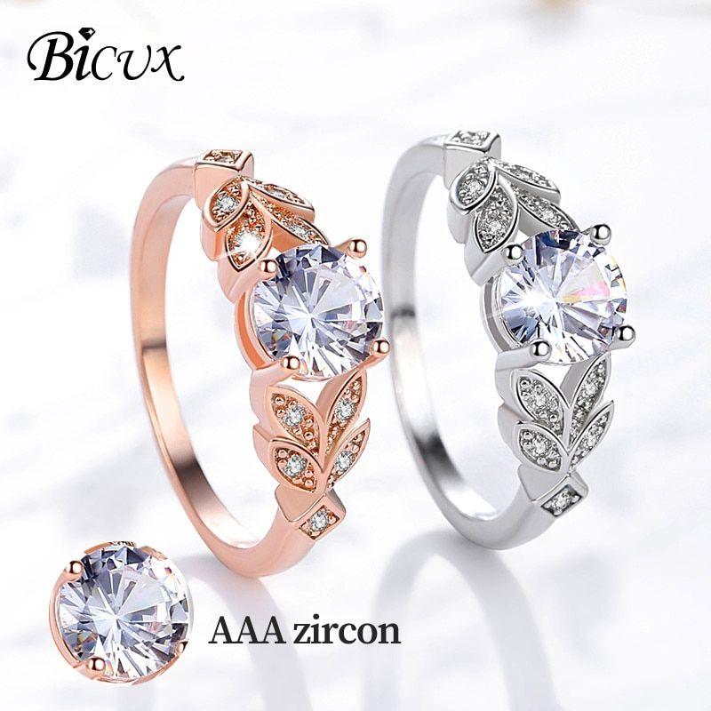 Elegant Women Engagement Crystal Gold Silver Wedding Rings Fashion Jewelry Gift