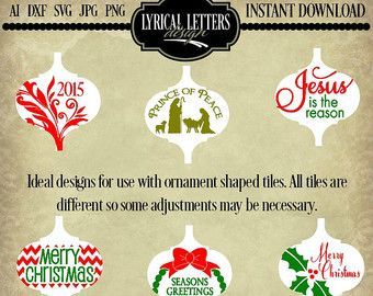 Ceramic Tile Christmas Ornament Bundle Of 13 Svg Digital Files Etsy Ornaments Design Ornament Template Ornaments
