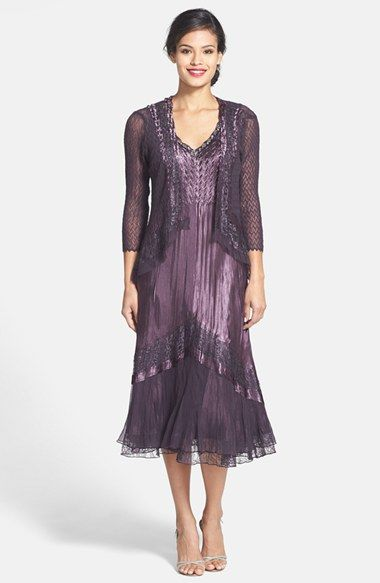 Free shipping and returns on Komarov Lace Trim Charmeuse   Chiffon Dress  with Jacket at Nordstrom.com. Lustrous charmeuse is expertly hand-pleated  and ... 853b41730c9b