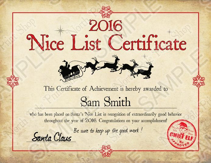 Results For Santa Nice List Certificate   Calendar