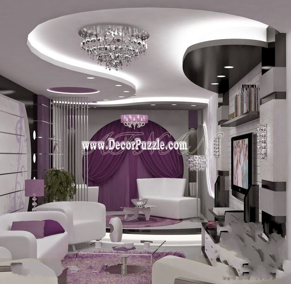 Contemporary pop false ceiling design with led lights for for Drawing room bed design