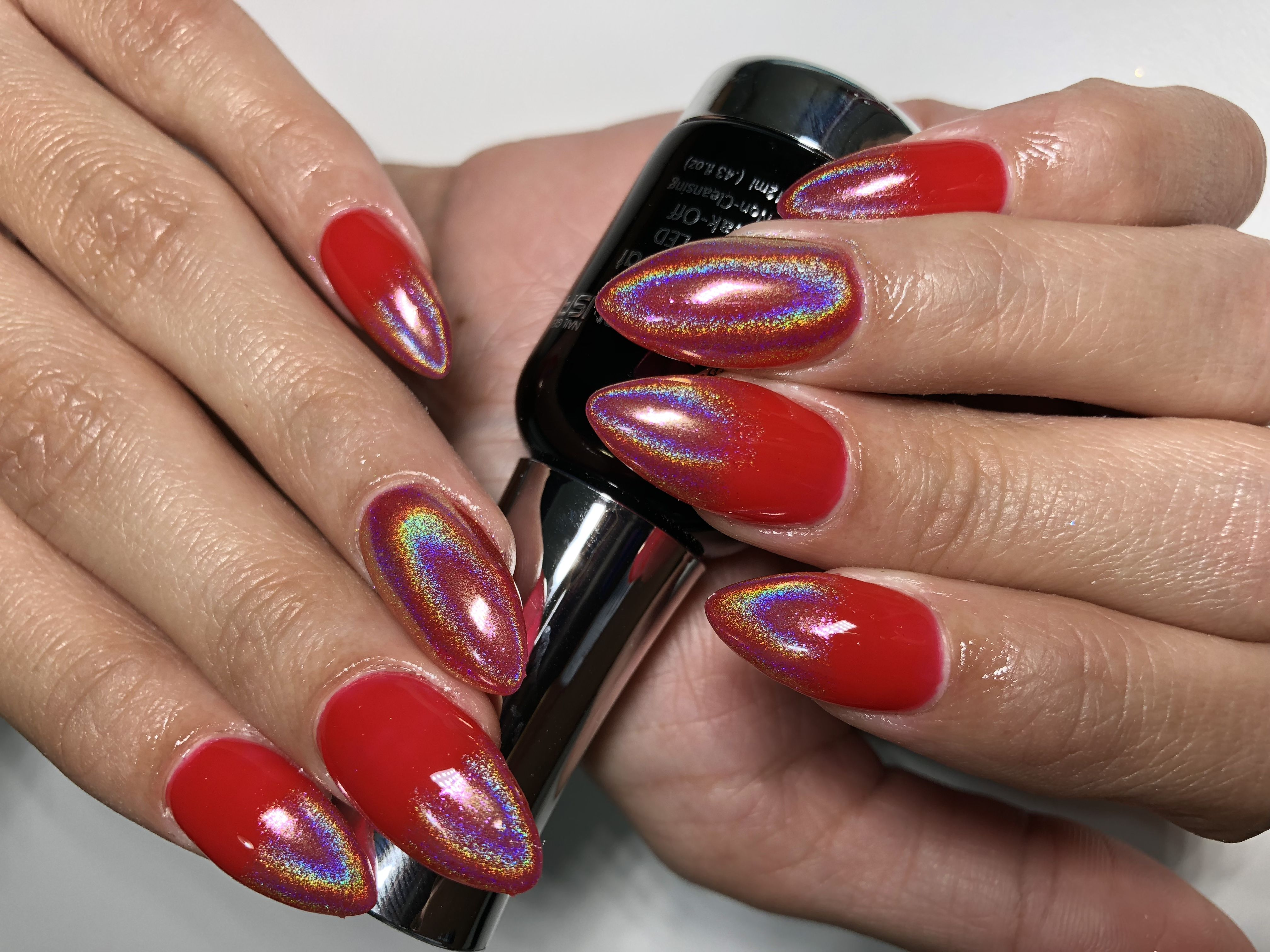 Red Ombre Chrome Nails