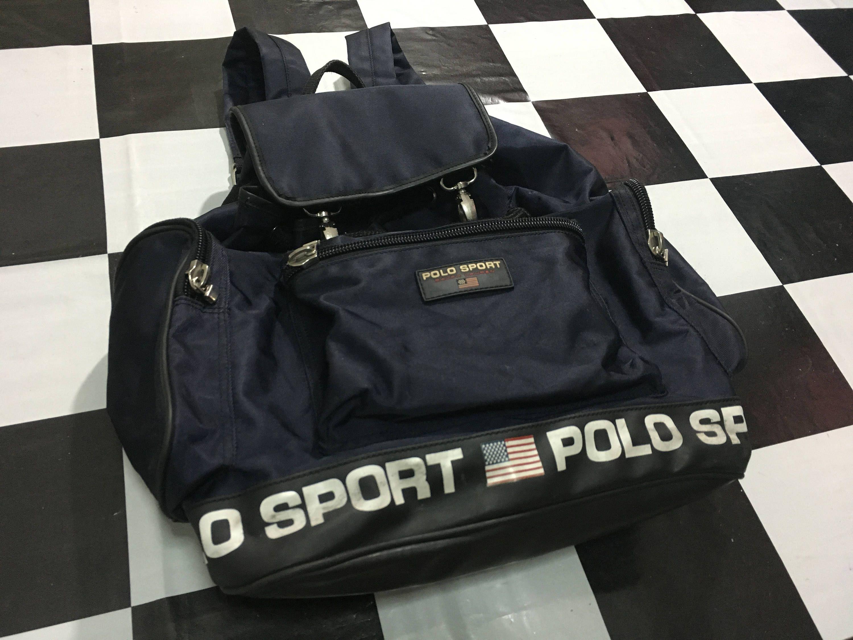 Backpack Ralph Lauren Polo Black Bag Sport Rucksack Vintage 5Tc3lF1uKJ
