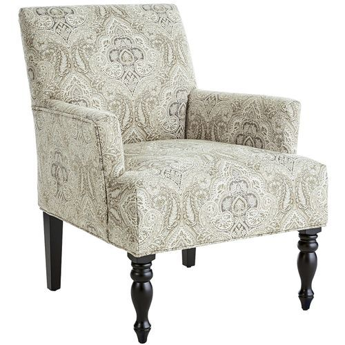 Liliana Gray Medallion Armchair Leather Accent Chair