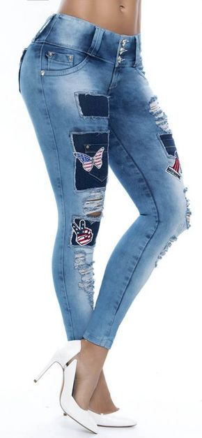 Jeans levanta cola ENE2 93273   Pantalones con parches ...