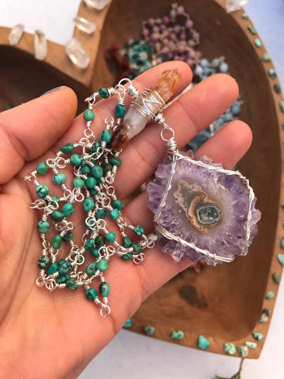 OOAK  Amethyst stalactite on wire wrapped by WingostarrJewelry