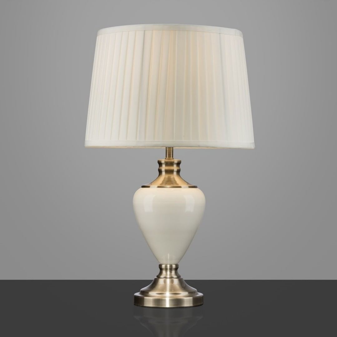 This Hepburn Table Lamp Has A Lovely Cream Ceramic And Antique Brass Base Complete With A Cream Pleated Shade This Large Ta Table Lamp Touch Table Lamps Lamp