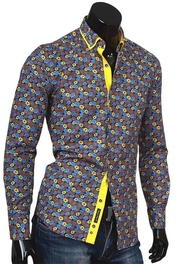 5d277d0c01e Купить Коричневая мужская рубашка в цветах фото недорого в Москве ...