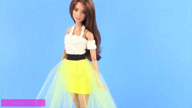 Как сшить для куклы платье с юбкой из тюля без выкройки