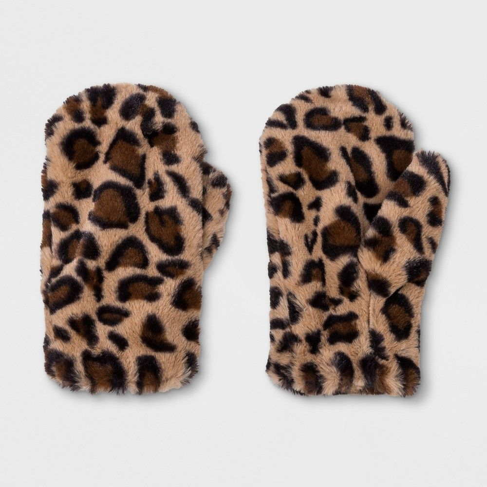 26e0e4408b0 Leopard-print faux-fur mittens. Tan mittens with allover black and brown  spots. Open cuffs allow for easy on and off. Size  Osfm. Gender  Female.