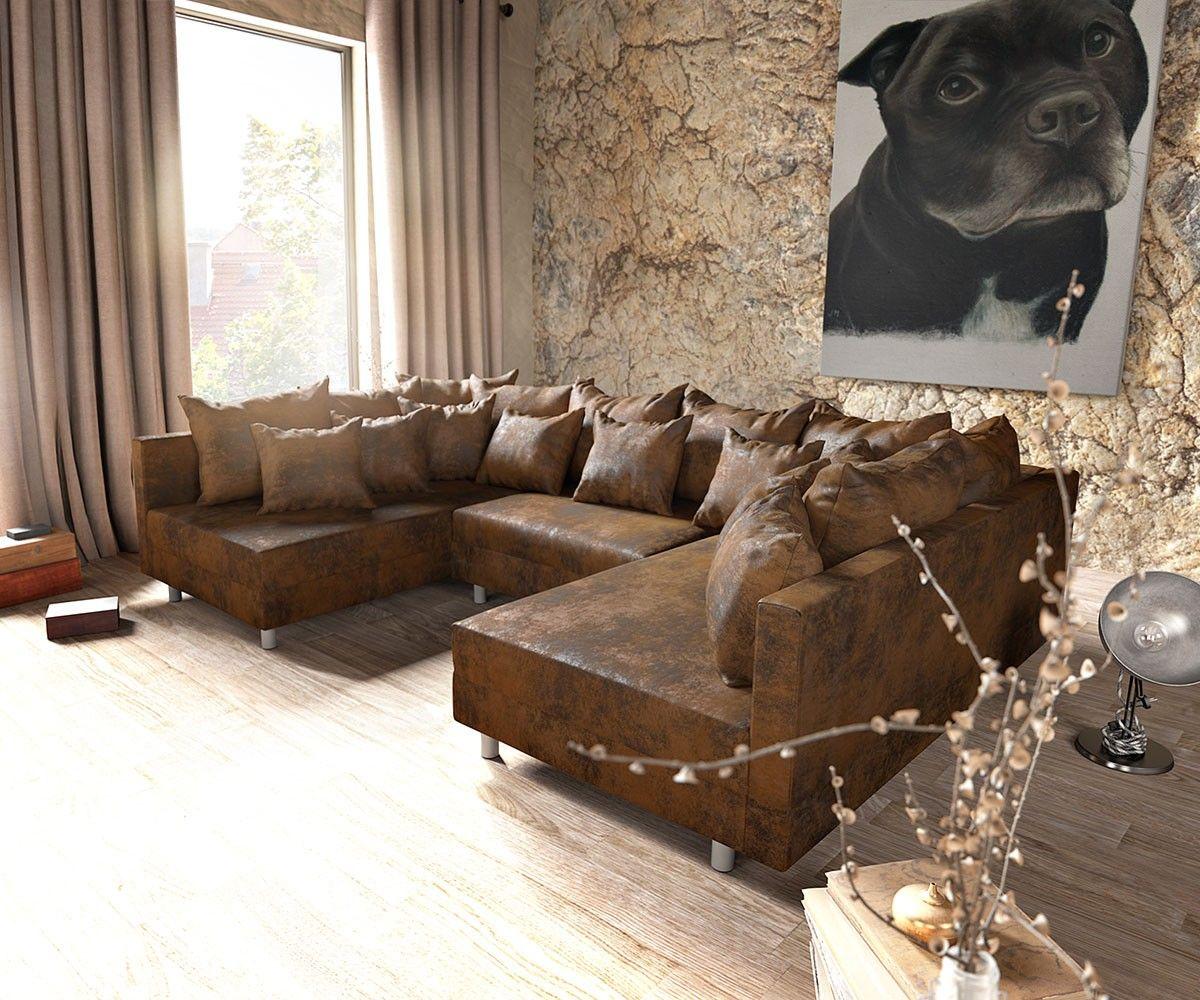 Wohnlandschaft clovis braun antik optik modulsofa wohnung sofa wohnlandschaft sofa und m bel - Wandgestaltung antik ...