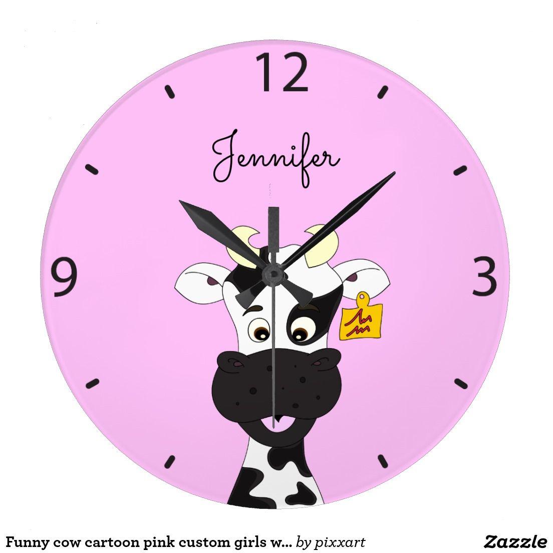 Funny cow cartoon pink custom girls wall clock pink funny and funny cow cartoon pink custom girls wall clock amipublicfo Choice Image